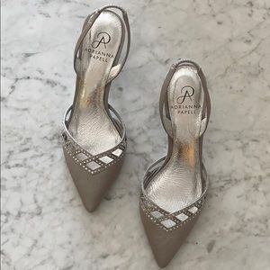 Silver Adrianna  Papell  shoes w/rhinestone detail